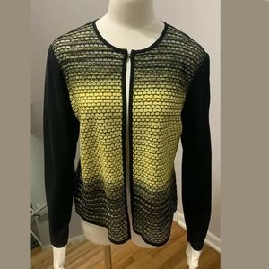 Ming Wang Knit Carsigam Sweater Black And Yellow